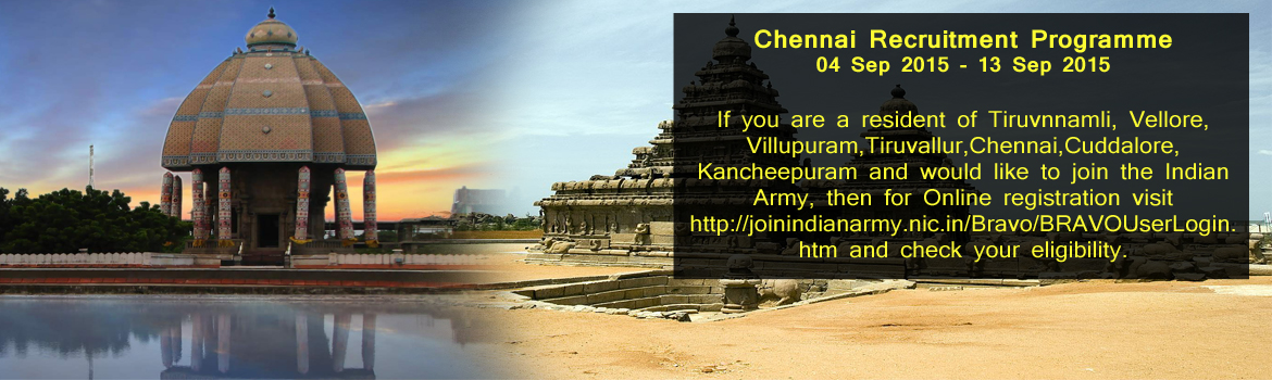 Chennai Recruitment Programme 04 Sep 2015 - 13 Sep 2015